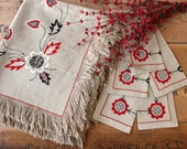 "Vintage Polish tablecloth and six napkins - 54"" x 44"" hand embroidered natural color - folk art embroidery - new with tags"