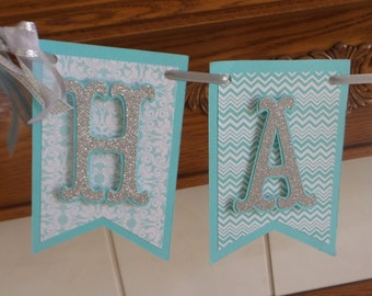 Silver letters, Mint Blue Happy Birthday Banner, Light Blue Chevron, Pennant Style Birthday Banner, Blue Damask flag banner