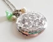 Antique Silver Locket Necklace - Silver Locket - Locket Necklace - Bridesmaid Locket - Flowergirl Locket - Bridesmaid Necklace - Wedding