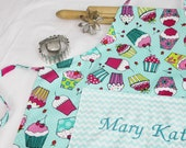 Personalized Aqua Cupcakes Youth Apron with chevron pocket - made to order