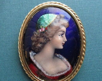 On Sale Antique Limoges Enamel And 14 Karat Gold Brooch French Lady Figural Cameo Pin Signed Gamet