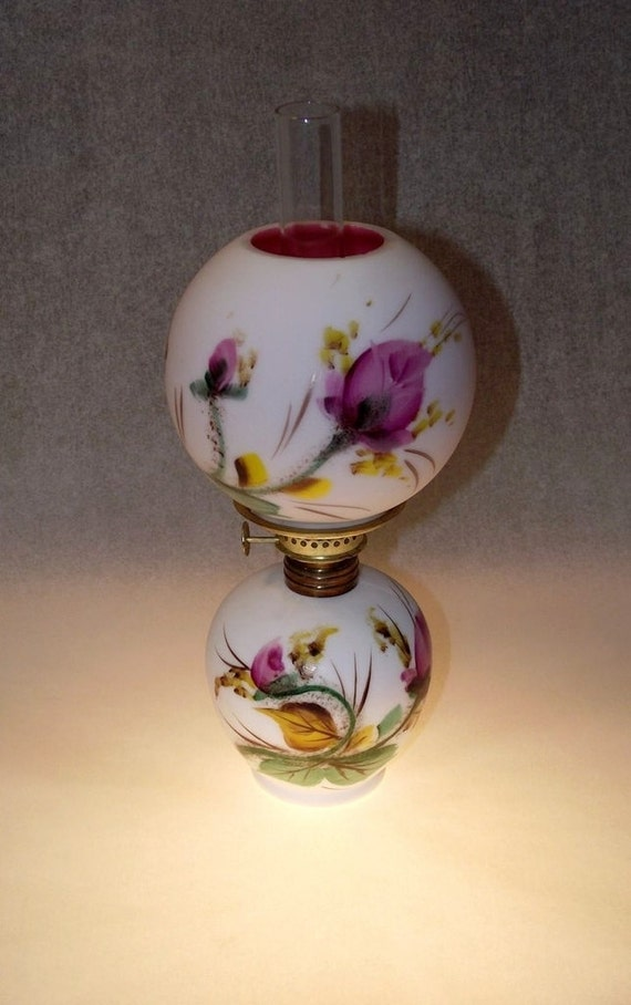 Fenton Moss Rose Miniature Oil Lamp Gone With The Wind Gwtw