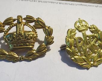Two Vintage British or Canadian Royal Air Force Cap Badges