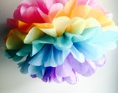 1 Unicorn Fairy Rainbow Pom, Tissue Paper Pom Pom,  Rainbow Theme Party, Unicorn Party, Whimsical Party, Rainbow Weddind Decor