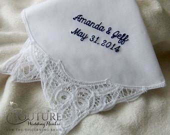Personalized with Your Own Saying Hanky Hankie | Custom Word Embroidered Wedding Handkerchief H9030