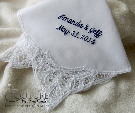 Monogrammed Wedding Handkerchief Personalized Hankerchief for Mother of the Bride Gift, Bride Hanky & more