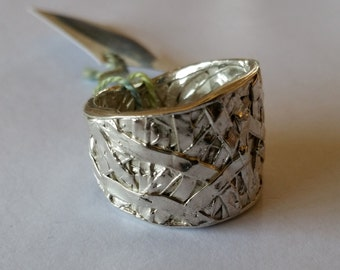Sterling Silver Handmade Ring Tangled Web Texture
