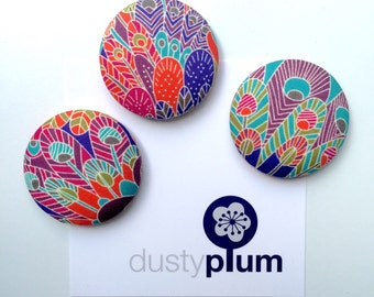 Liberty of London fabric Covered Button Magnets Super Large 38mm x 3 Beautiful Brights Orange Purple