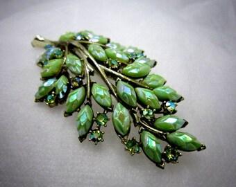 Green AB Art Glass Brooch