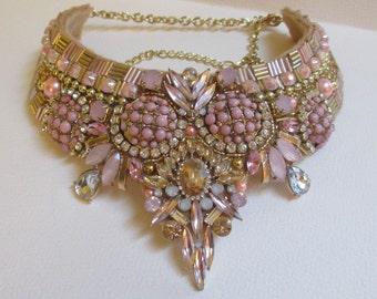 Statement Bib Collar Necklace Pale Pink Gold Vintage Elements Art Deco