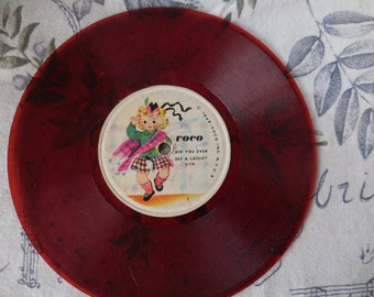 Vintage 1940s Red Voco 45 rpm Record Translucent See Through Childs Did You Ever See A Lassie? Scottish/Irish