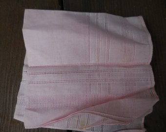 Vintage Pink Handkerchief Hanky 1950s to 1960s Reusable Cotton Simple