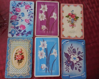 Vintage Floral 1940s to 1950s Flowers Playing Cards Reuse Set of Six (6) Reuse Repurposing Recylce Scrapbooking