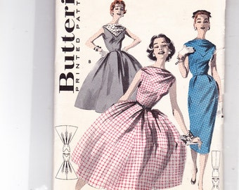 "Butterick 8074 Size 14 Bust 34"" Rockabilly Full Skirt or Slim Wiggle Dress Easy1950's Sleeveless Bateau Neckline"
