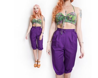 Vintage 1960s Pants - High Waisted Purple Capri Cropped Pedal Pushers - Extra Small XS
