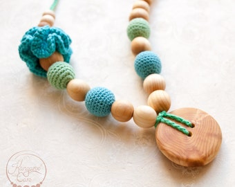 Mint & Blue Flower Mama Nursing Necklace / Teething Necklace / Breastfeeding Mom Necklace or Babywearing Accessories - Kangaroo Care Europe