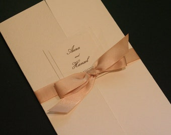 Wedding Program Book, SPANISH, Ceremony Program, Order of Service, Ivory, Tri-Fold, Catholic, Unique, Christian, Romantic, Shabby Chic