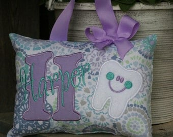 Tooth Fairy Pillow for Girls Personalized - Purple - Custom Made - Boutique