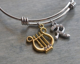 gold lyre bangle, silver bangle, harp charm bracelet, charm bangle, personalized jewelry, music instrument gift, friend gift, chrismas gift