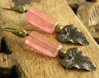 Long dangle earrings leaf earrings beaded jewelry cherry quartz nature inspired beaded earrings