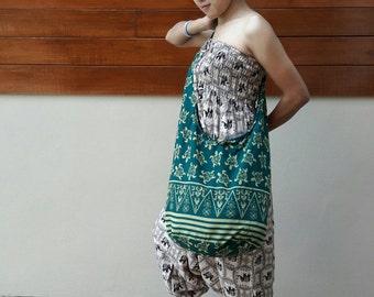 Turtle Printed Cotton Sling Crossbody Bag Hippie Hobo Purse Shoulder Handbag / Black Green White