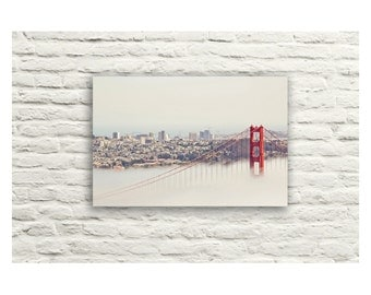 Golden Gate Bridge Photography. San Francisco Skyline. Fog. Canvas Wall Art. Home Decor. City. California. Red and Gray