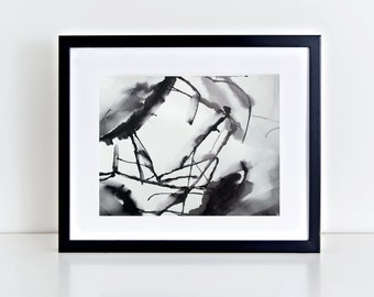 Original Painting, Wall Art Abstract painting black and white Home Decor, Contemporary Art, ink Painting