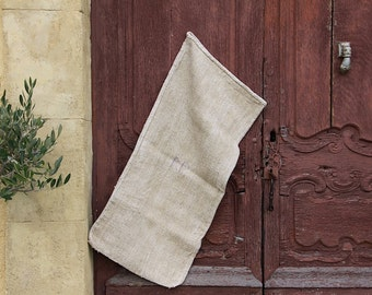 French Antique Hemp Linen Grain Sack, Herringbone Weave, Hand Woven