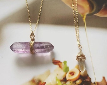 Double Crystal Gold Choker Set - 2 Gold Necklaces w/ Amethyst and Quartz