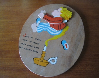 Vintage Jack Jump Over The Candle Stick Wall Hanging