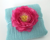 Aqua Cheesecloth Photo Prop Wrap with fuchsia Flower Headband for Newborn, Baby Girl Spring Portrait, Photography Prop Baby Shower Gift