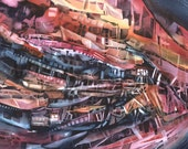 """Abstract Subway Trains Boats, Red Orange, Yellow Ochre, Indigo Blue, Watercolor Painting Wall Art Home Decor, """"Loco-Motion"""" Steinwatercolors"""