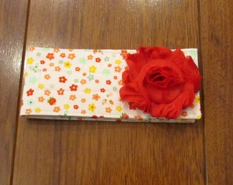 Sale Riley Blake Pink, Red, Blue, Green Floral Diaper Strap with Matching Red Frayed Shabby Chiffon Flower