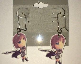 Chibi Lightning - Final Fantasy XIII Silver Earring Set