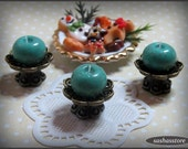 Dollhouse miniature candle, bronze candleholder 12th scale dollhouse accessory, miniature home decor
