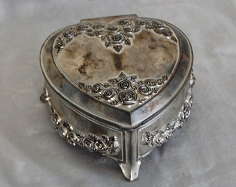 Vintage Silver Plate Heart & Roses Dresser Vanity Jewelry Trinket Box