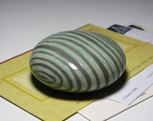 Paperweight Teacher Boss Gift Desk Office Op Art Raku Ceramic Pottery Sphere Small Sculpture Turquoise Black Grey Stripe