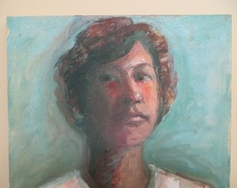 Vintage PORTRAIT Oil Painting / Modern Ethnic / 16x20 / unsigned