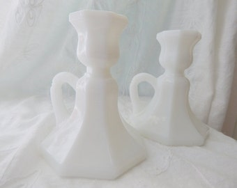 Milk Glass Candle Holders with Pretty Handle, Set of two Candlesticks