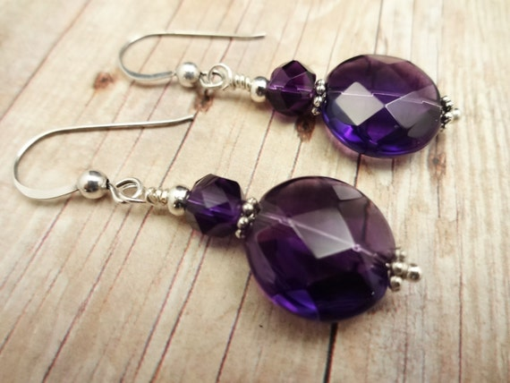 Round Dark Amethyst Earrings