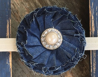Denim Blue Shabby Frayed Flower Pearl Rhinestones Ivory Elastic Headband Baby, Toddler, Girls