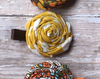 Fall Trio Brown Orange Gold Rolled Frayed Fabric Rosette Hair Clip Set Babies-Toddlers-Girls-Women
