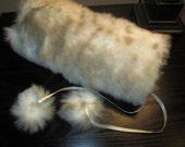 Carmel & White Fur Muff, Fully Lined,Winter Accessories, Winter Fashion, Vintage Faux Fur, White Muff, Wedding Muff
