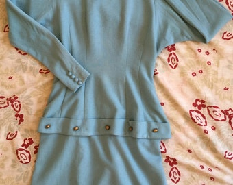 Vintage 1940s Peplum Dress in Light Blue Wool