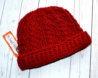 Men's Warm Hat in Brick Red