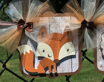 Fox baby shower banner, fox banner, gender neutral decor, woodland banner, woodland decor, fox decor, photo prop, table banner,