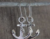 Silver Anchor Earrings on Titanium Ear Wires