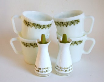 Spring Blossom Pyrex Mugs, Crazy Daisy Shakers, Corelle Salt Pepper