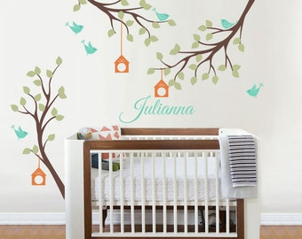 Wall decals, Bird, Bird Houses, Branch, Custom Name - Nursery Kids Removable Personalized Wall Decal and Wall decor