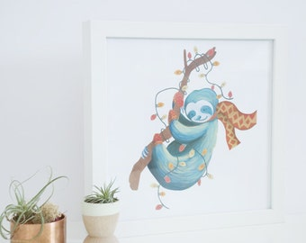 Sloth Print - Merry Slothmas - 9 x 9 Digital Print